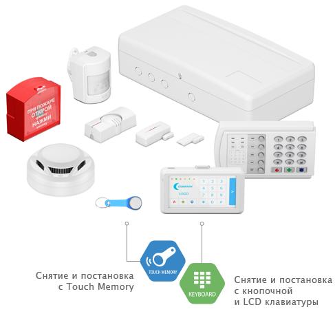 Панель Контакт GSM-5-2 в корпусе под АКБ 1,2 А·ч с датчиками, ключом TM и клавиатурами